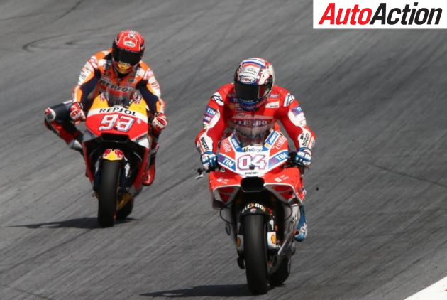 Andrea Dovizioso and Marc Marquez battling for the lead in the MotoGP race at the Red Bull Ring - Photo: LAT